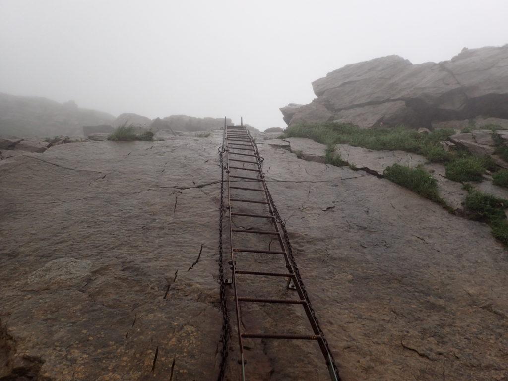 早池峰山の小田越コースのハシゴ