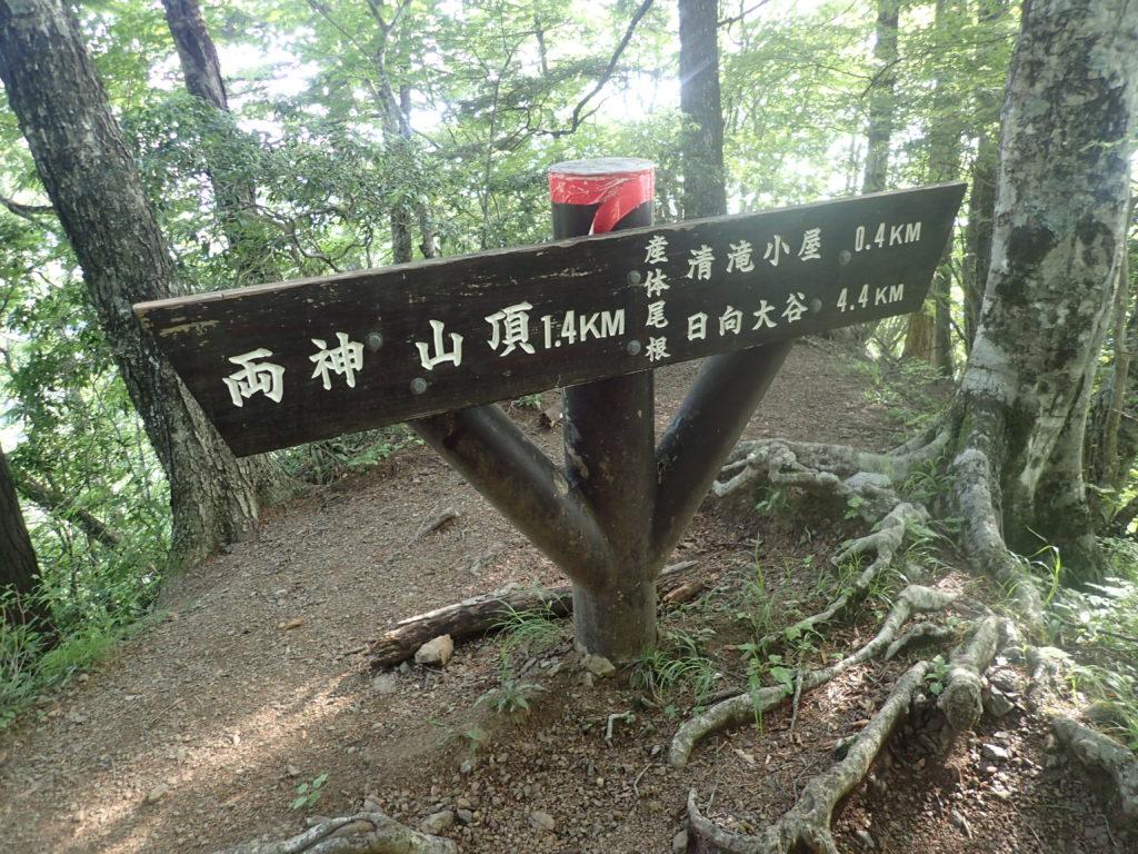 両神山日向大谷口ルート登山道の道標