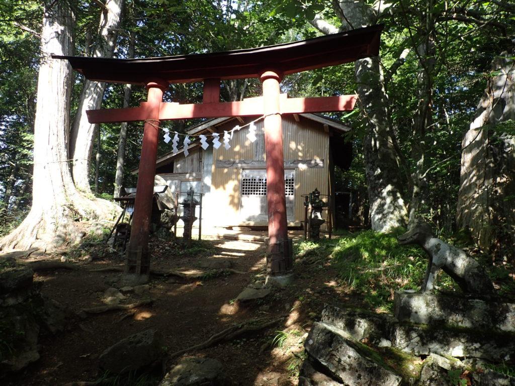 両神山日向大谷口ルート登山道の両神神社