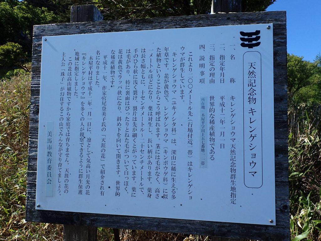 剣山にある天然記念物であるキレンゲショウマについての説明
