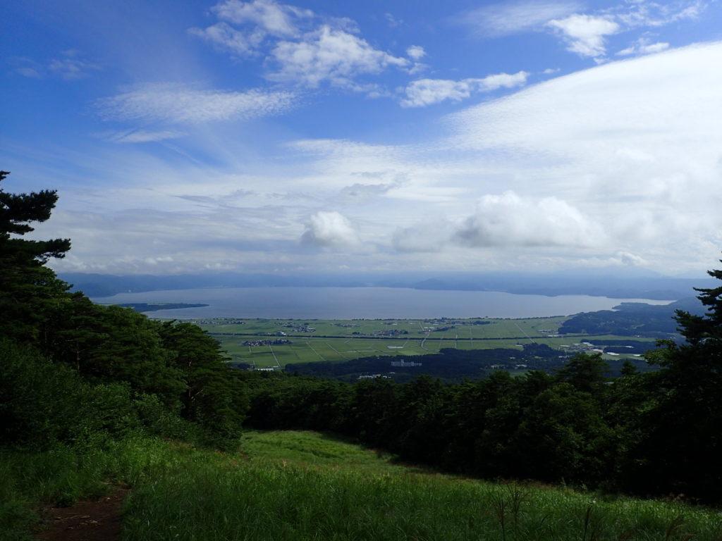 磐梯山の猪苗代ルートから見る猪苗代湖