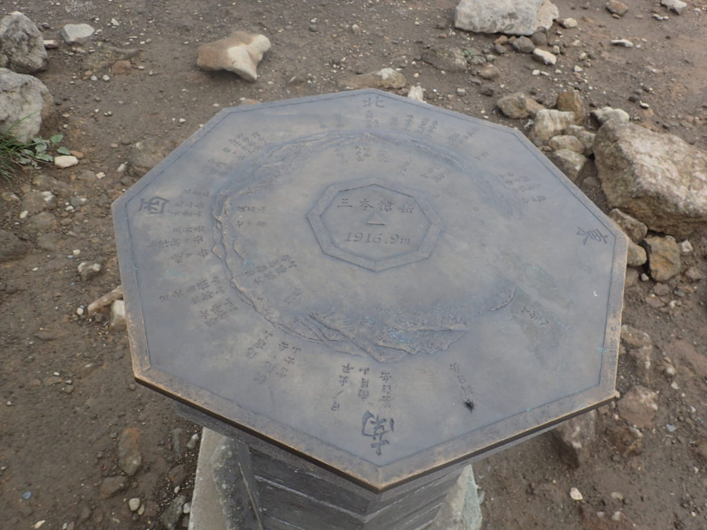 三本槍岳山頂の方位盤