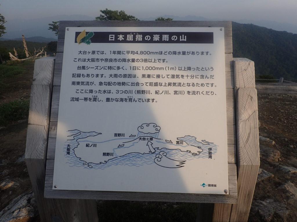 大台ヶ原山の雨についての説明