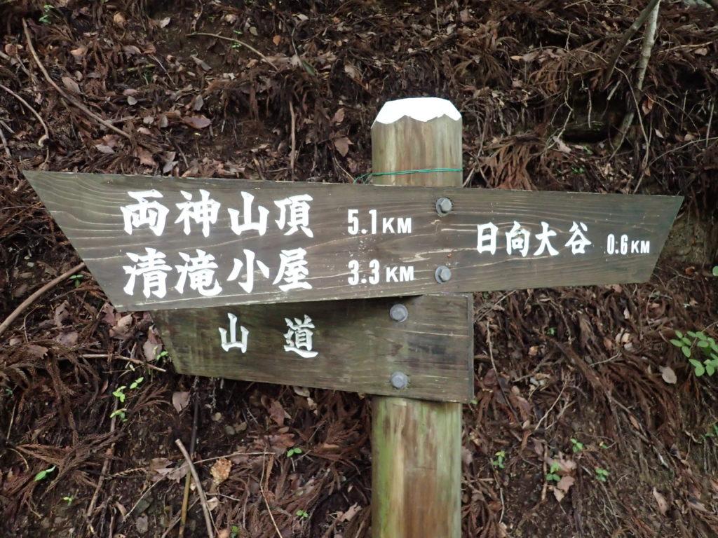 両神山日向大谷口の登山道の道標
