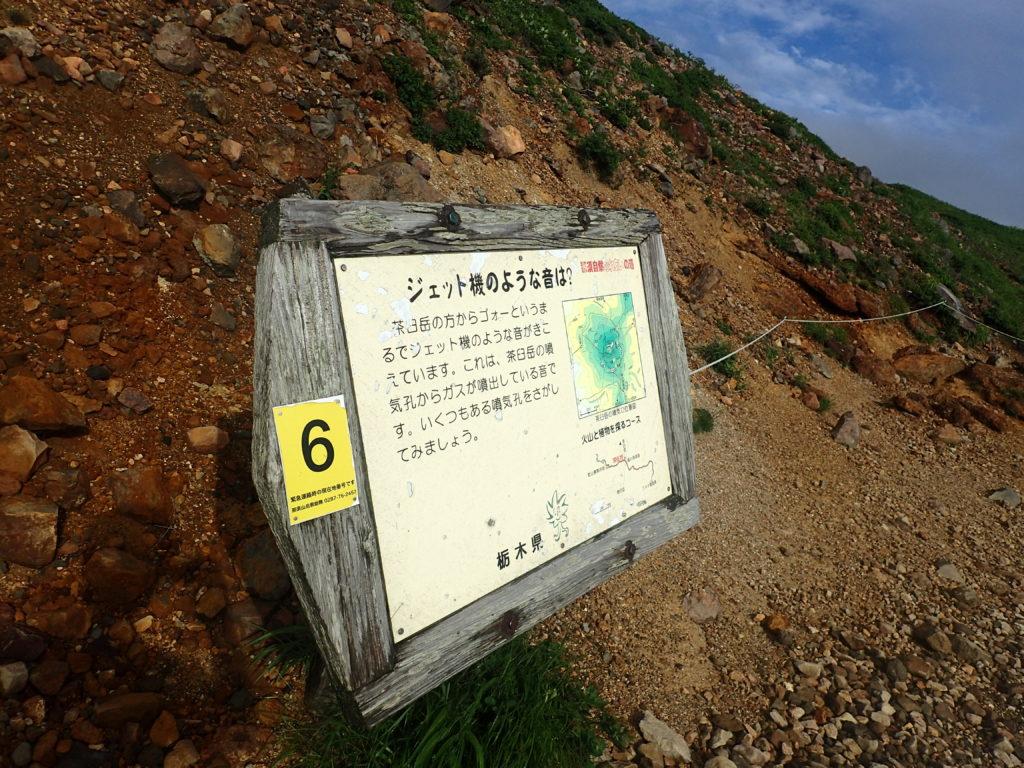 那須岳の茶臼岳の噴気孔についての説明看板