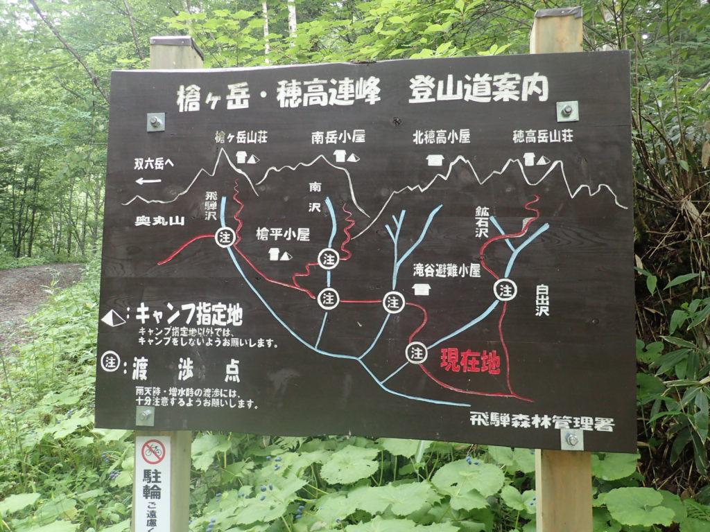 右俣林道にある槍ヶ岳・穂高連峰登山道案内の看板