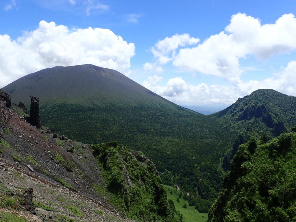 黒斑山登山道(表コース)にある槍ヶ鞘から撮影した浅間山と剣ヶ峰