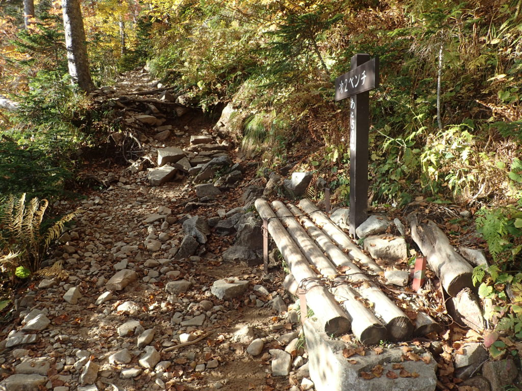 常念岳の一ノ沢ルートの第2ベンチ