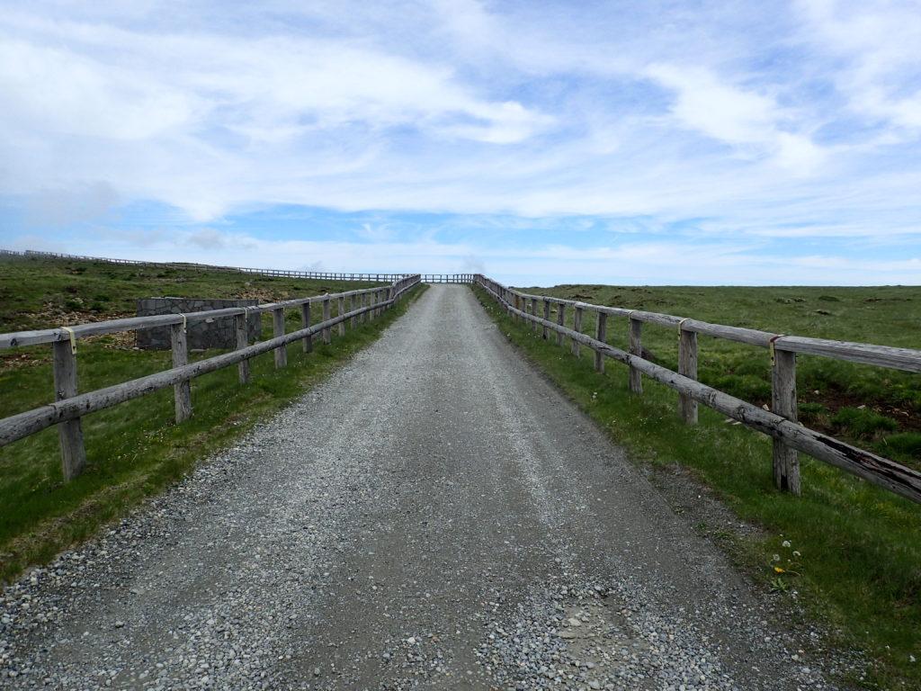 美ヶ原高原の牧地内の通路