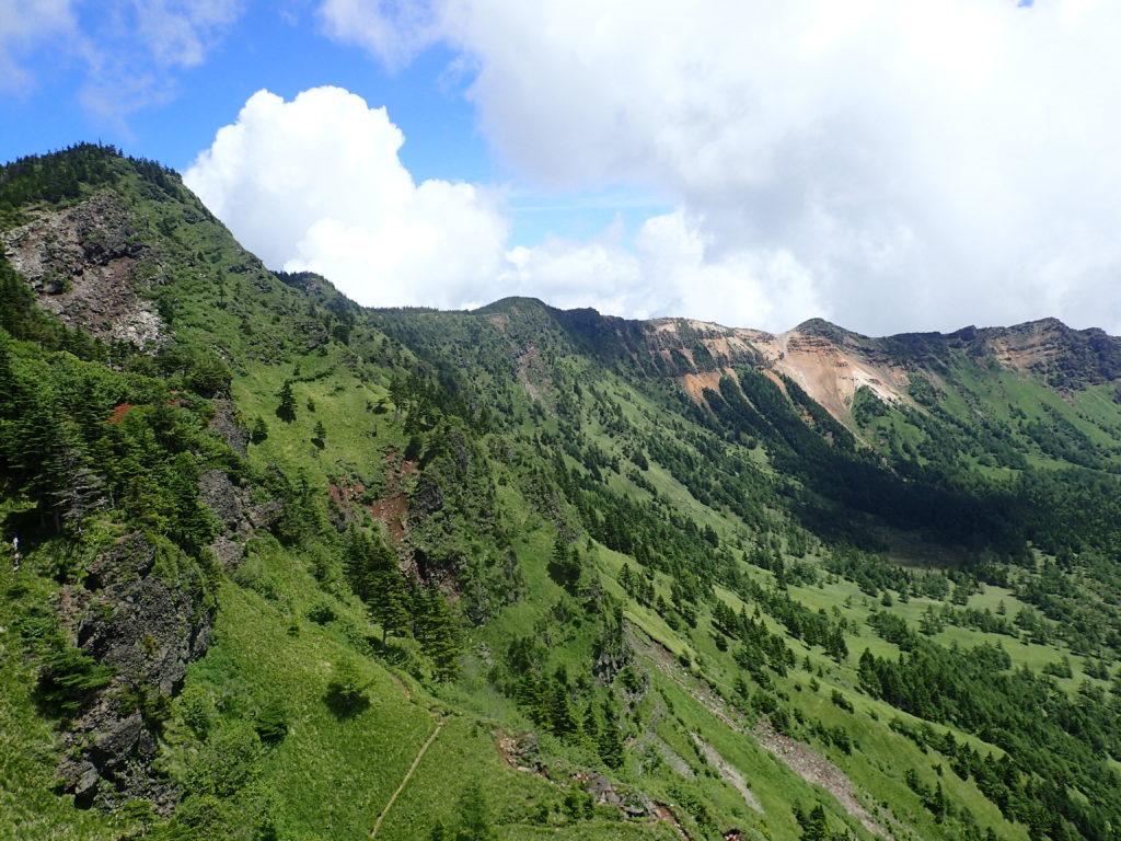 黒斑山から先の蛇骨岳と鋸岳方面