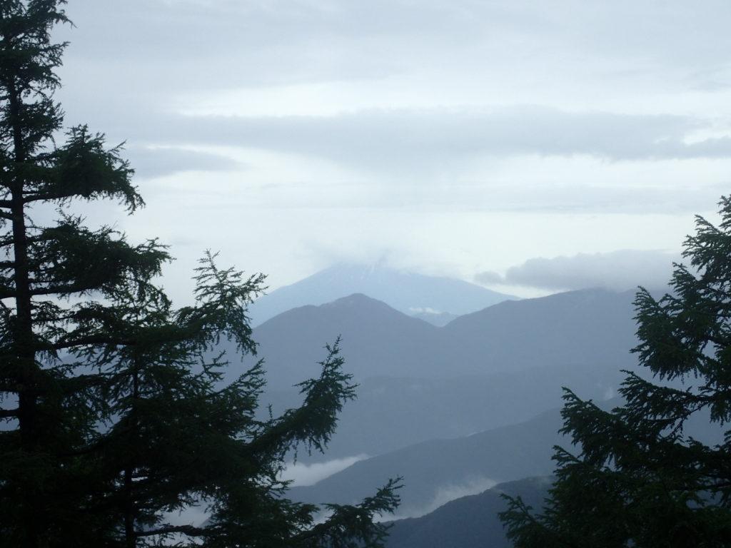 雨の雲取山鴨沢登山道から一瞬だけ垣間見えた富士山
