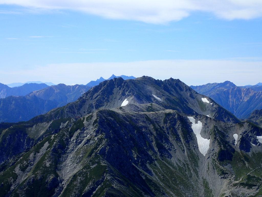 剱岳山頂から眺める立山と槍穂高