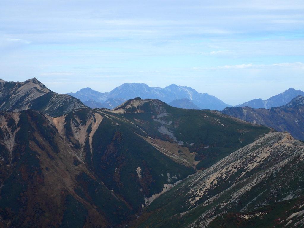 常念岳山頂から見る剱岳と立山