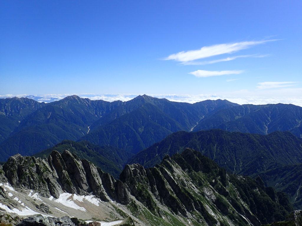 剱岳山頂から眺める白馬の山々(後立山連峰)