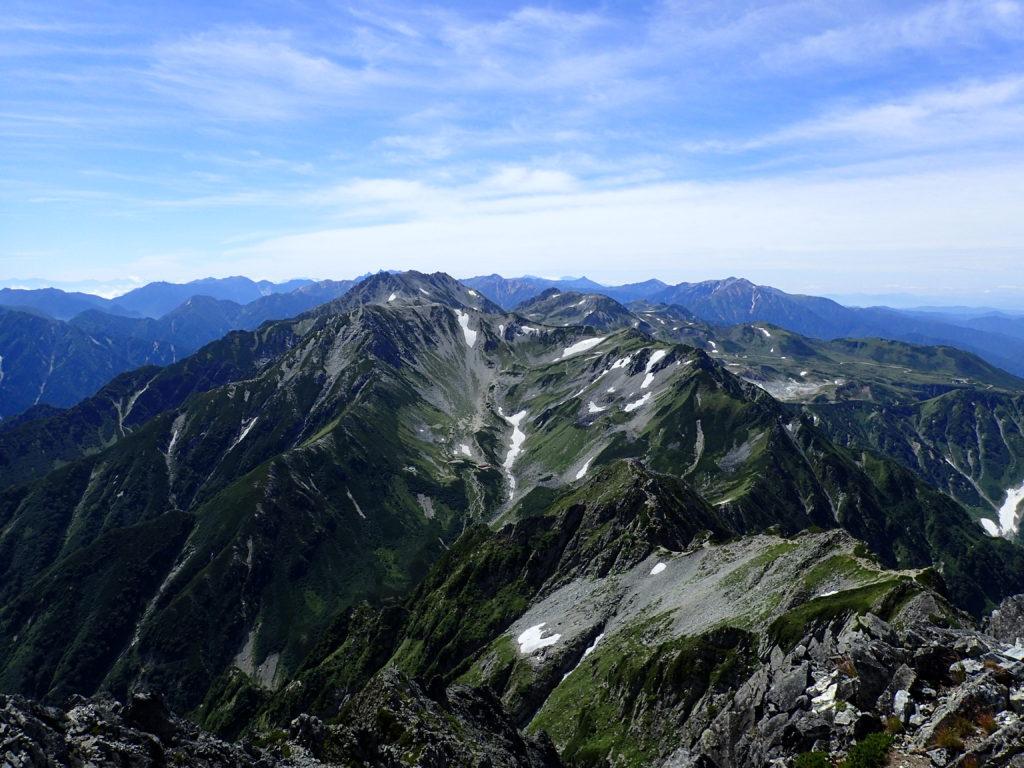 剱岳の山頂から眺める剣沢と立山方面