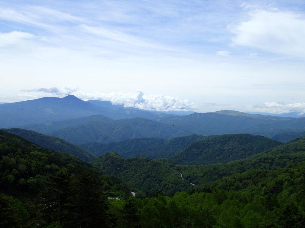 美ヶ原高原の山本小屋ふる里館前駐車場から見る八ヶ岳方面