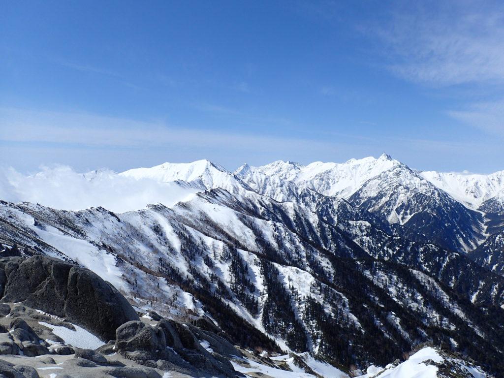燕岳から眺めた残雪期の北アルプス表銀座