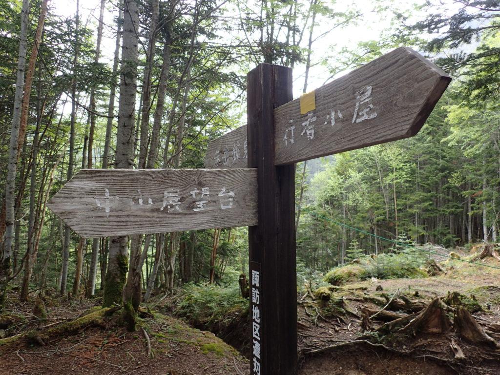 赤岳鉱泉から行者小屋へと向かう登山道にある中山展望台との分岐