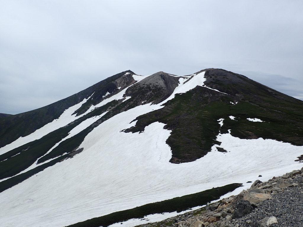 肩の小屋付近から見る乗鞍岳の山容