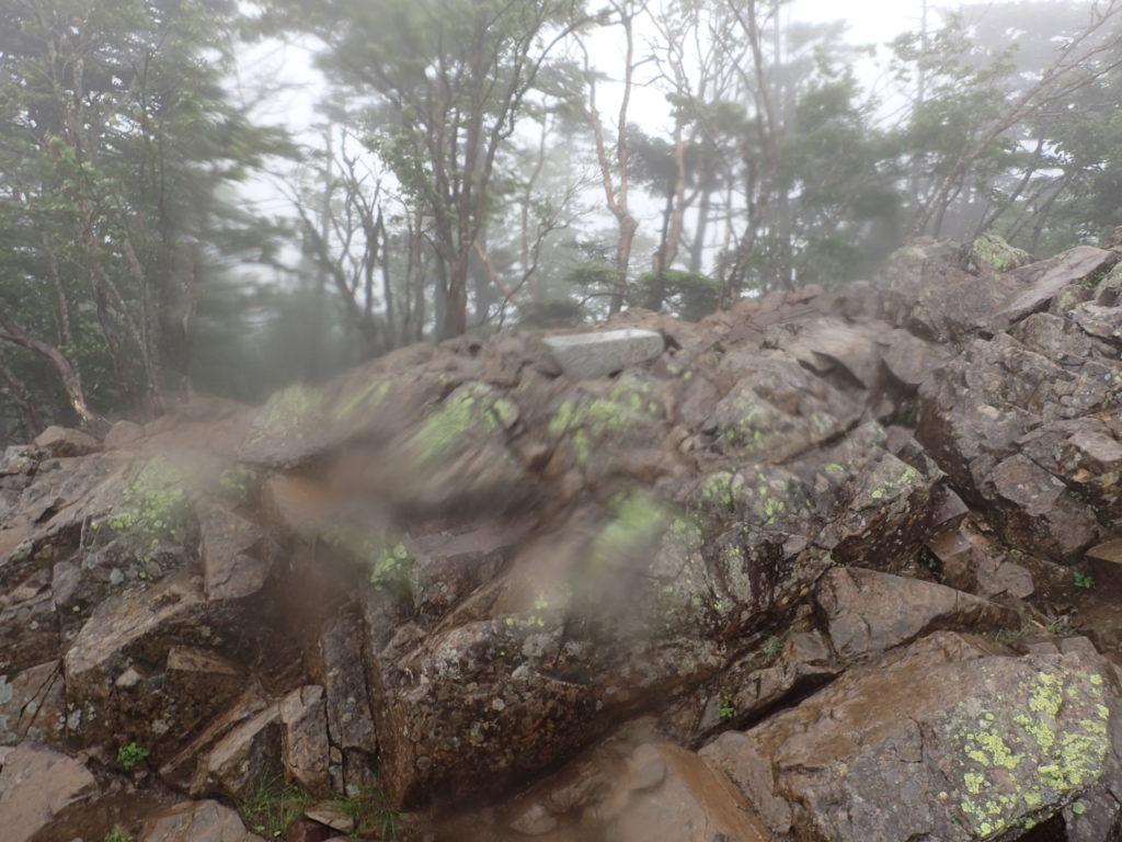大菩薩嶺の上日川峠からのルートにある雷岩