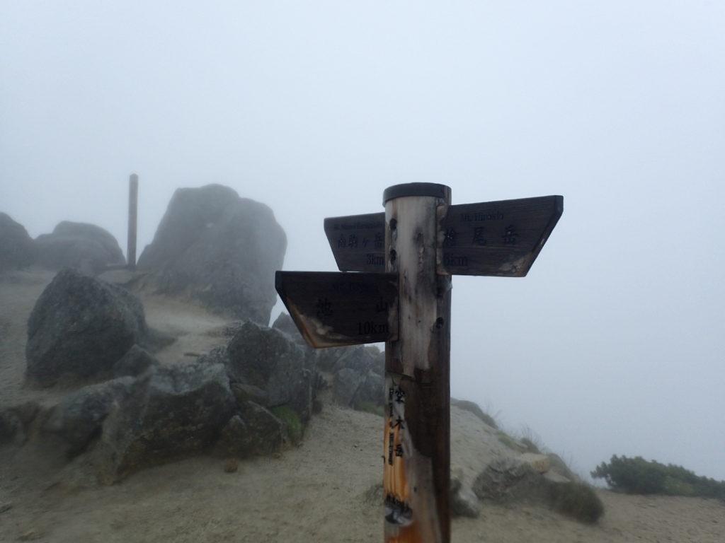 空木岳山頂の道標