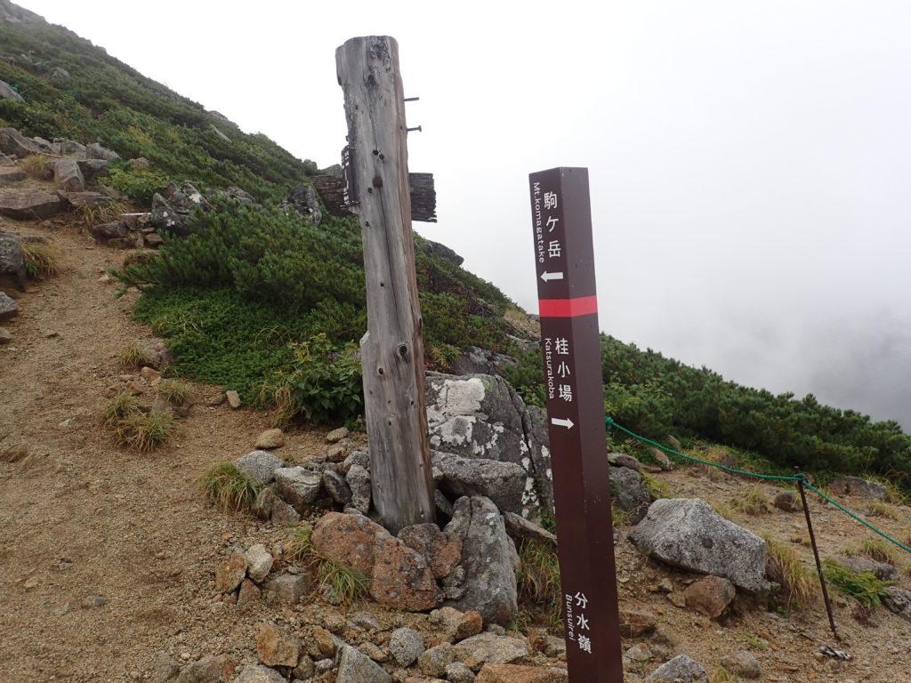 木曽駒ヶ岳の桂小場ルートの分水嶺