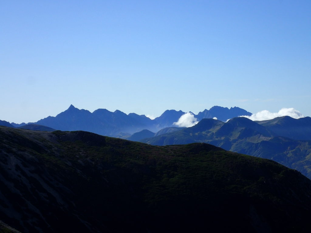 薬師岳から眺める槍穂高