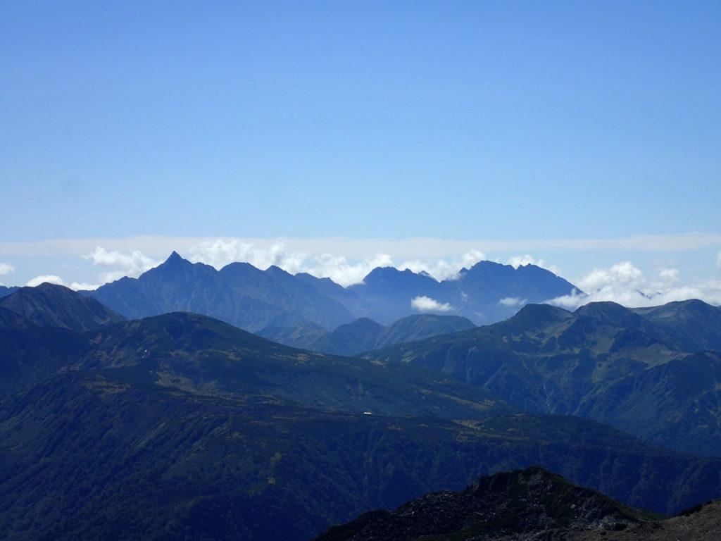 薬師岳登山道から眺める槍穂高