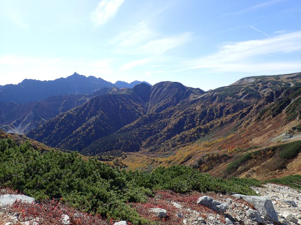 鷲羽岳登山道から見る槍ヶ岳