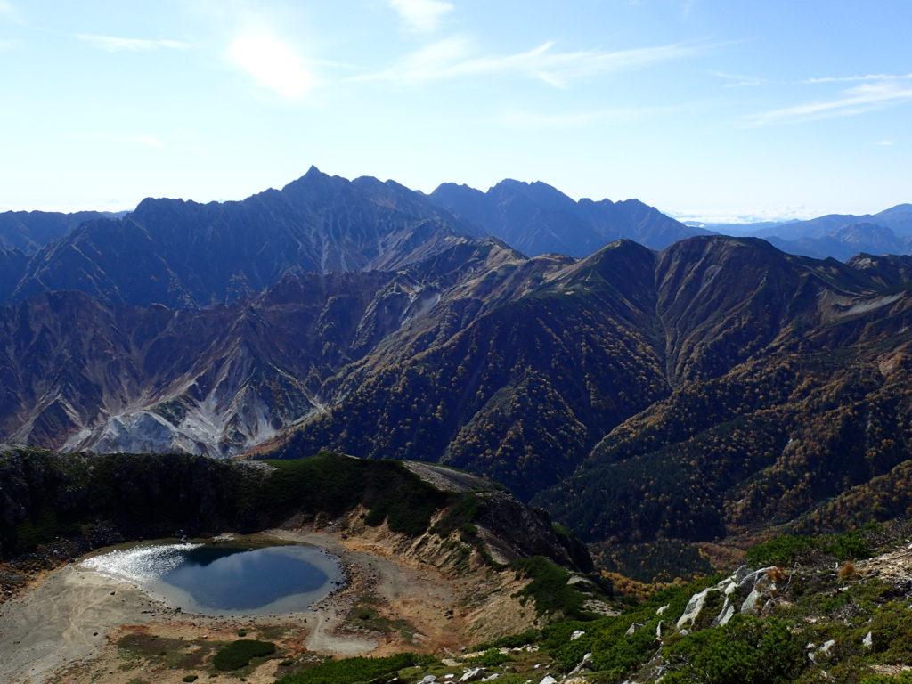 鷲羽池と槍ヶ岳と穂高岳