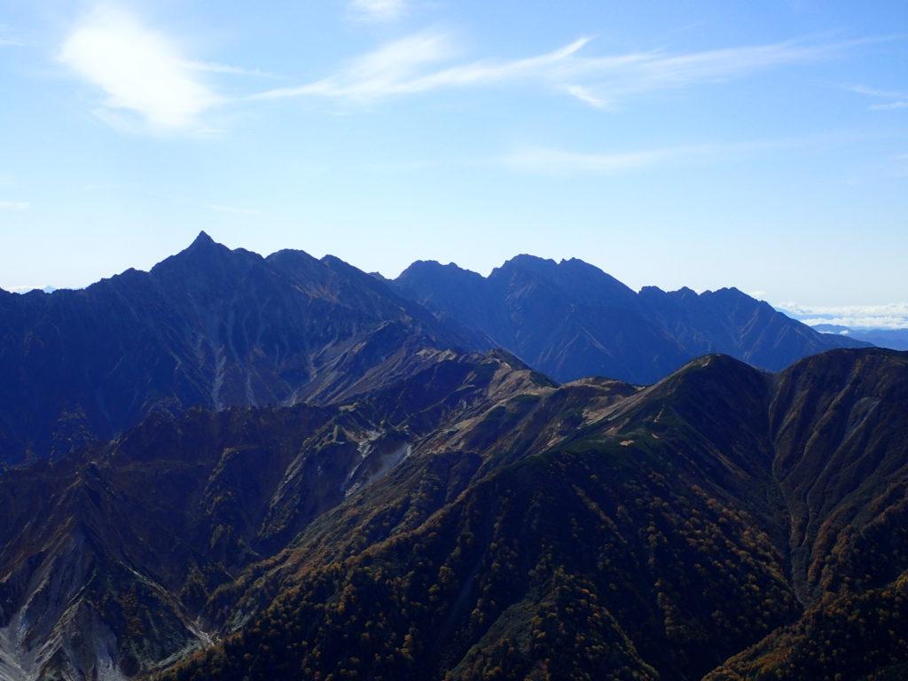 鷲羽岳から見る槍ヶ岳と穂高岳