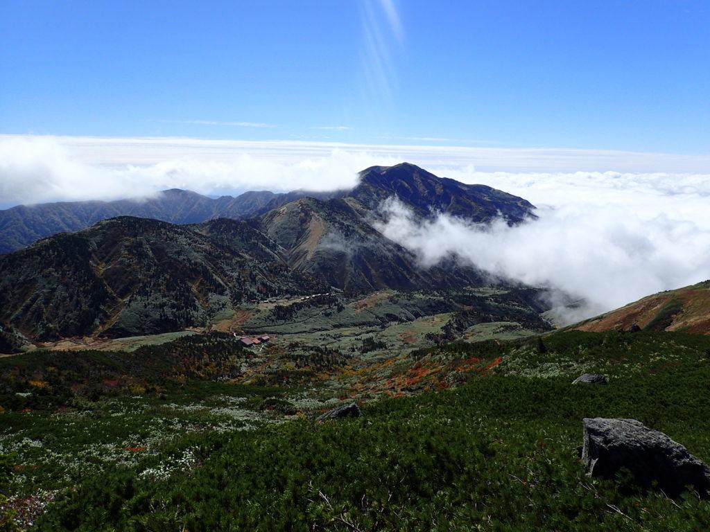 白山のトンビ岩コースから見おろす南竜ヶ馬場