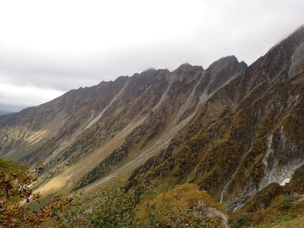 重太郎新道からみ見る西穂高岳方面