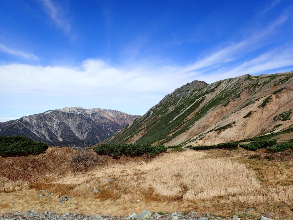 ワリモ岳方向から見る水晶岳と薬師岳
