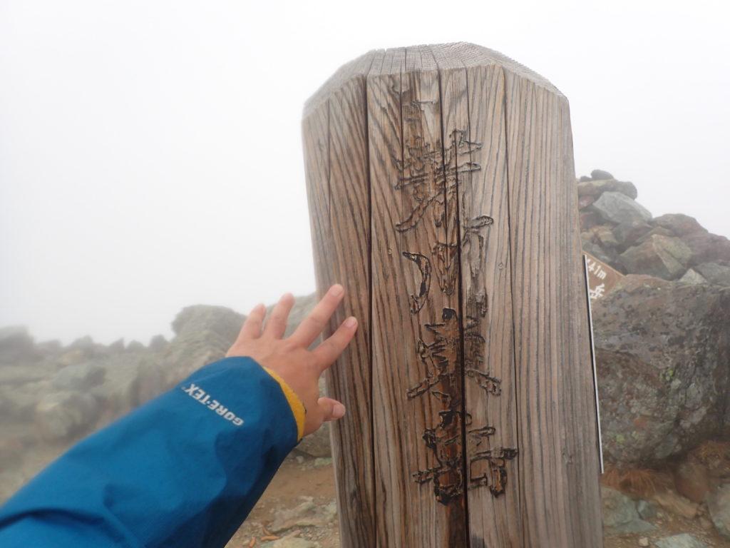 悪沢岳(荒川東岳)の山頂標