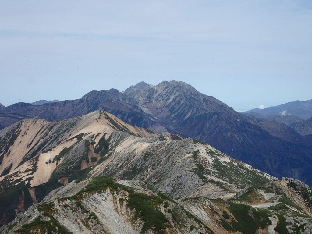 水晶岳から見る剱岳と立山