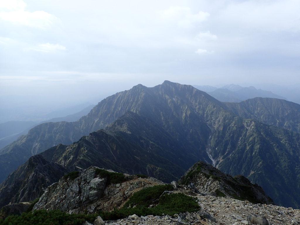 五竜岳から見る鹿島槍槍ヶ岳
