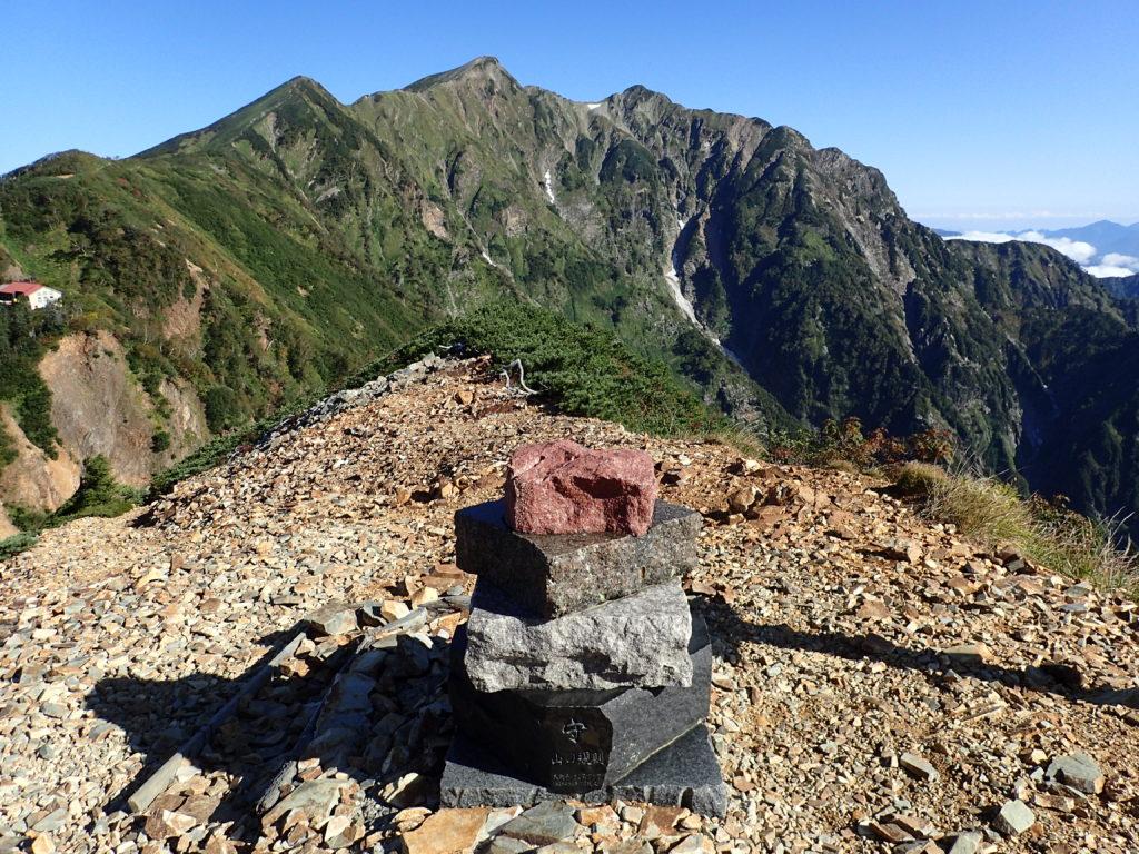 冷池山荘乗越の山の規則のモニュメントと布引岳と鹿島槍ヶ岳