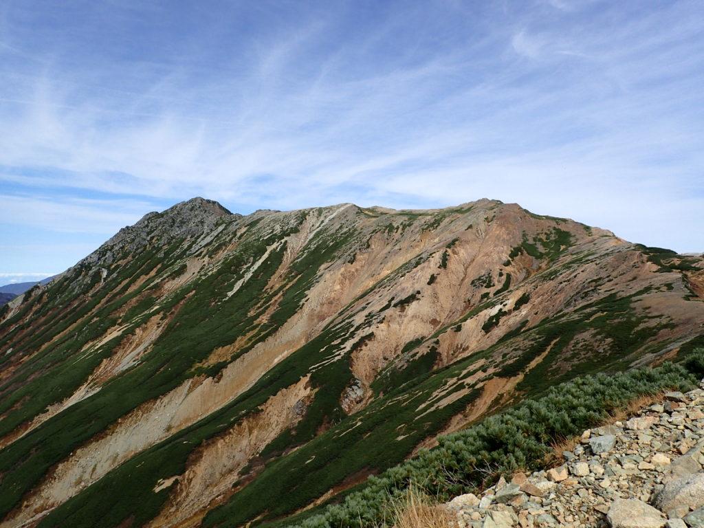 ワリモ岳方向からみた水晶岳