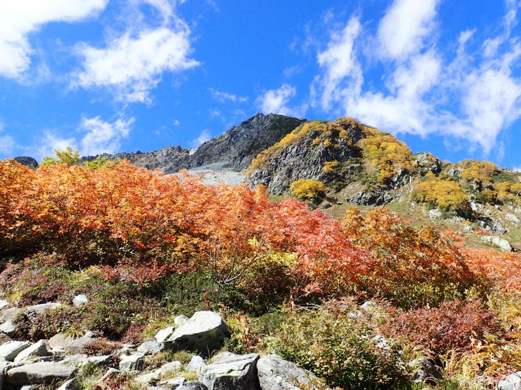 紅葉と北穂高岳方面