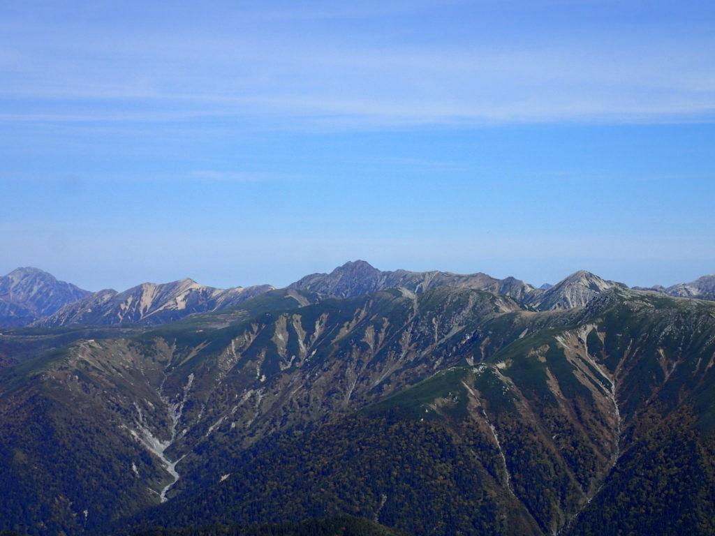 笠ヶ岳から見る水晶岳