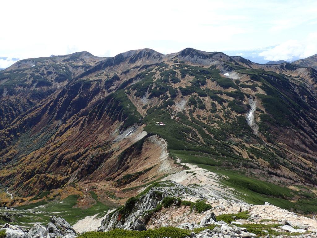 鷲羽岳から見る三俣蓮華岳