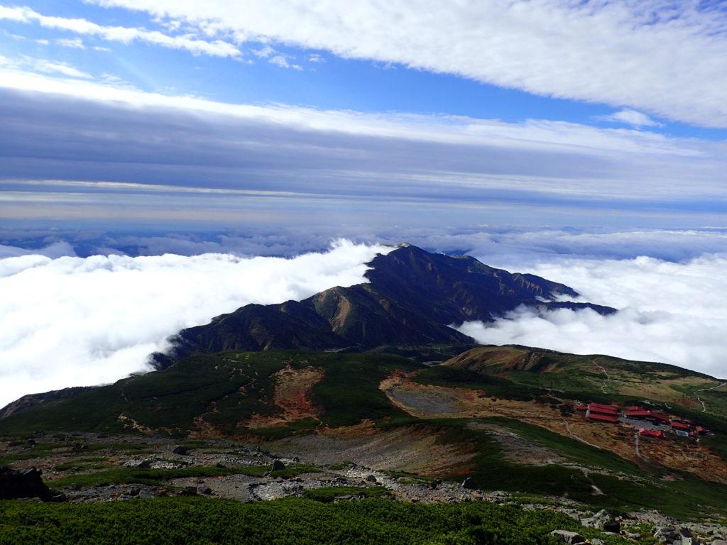 白山の御前峰方向から眺める別山と室堂