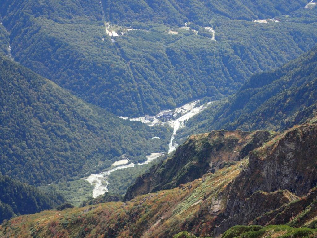 笠ヶ岳から見おろす新穂高