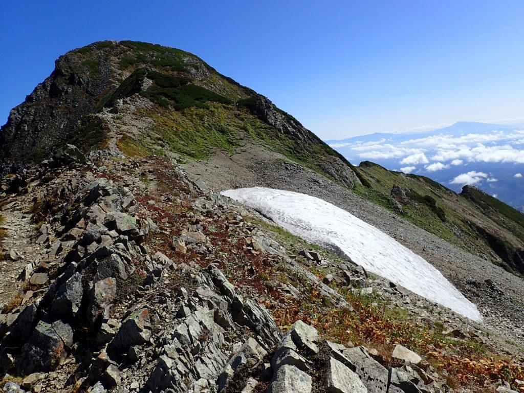 鹿島槍ヶ岳北峰直下の雪渓