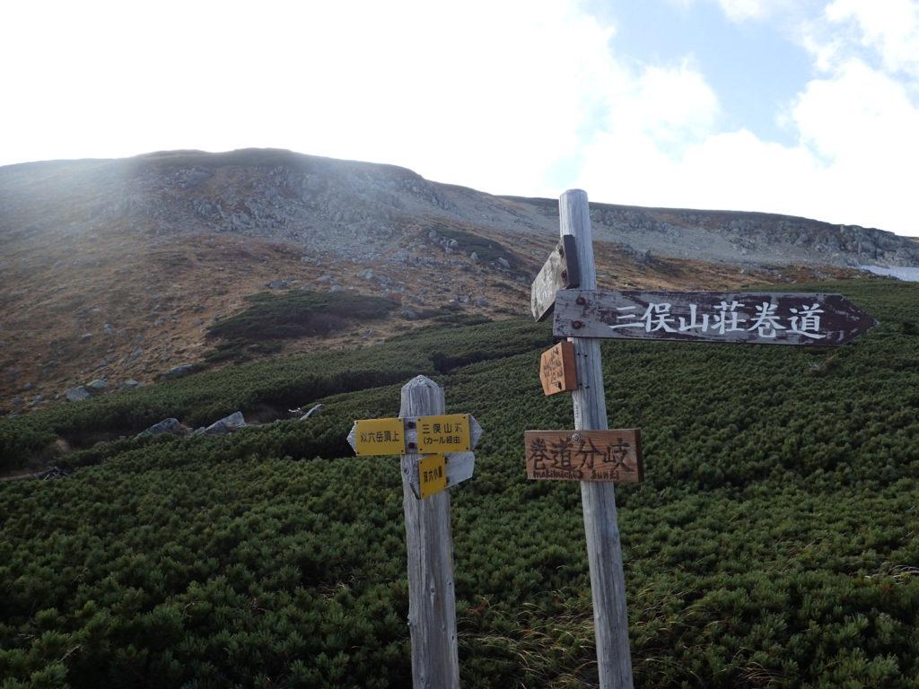 双六岳登山道の巻道分岐