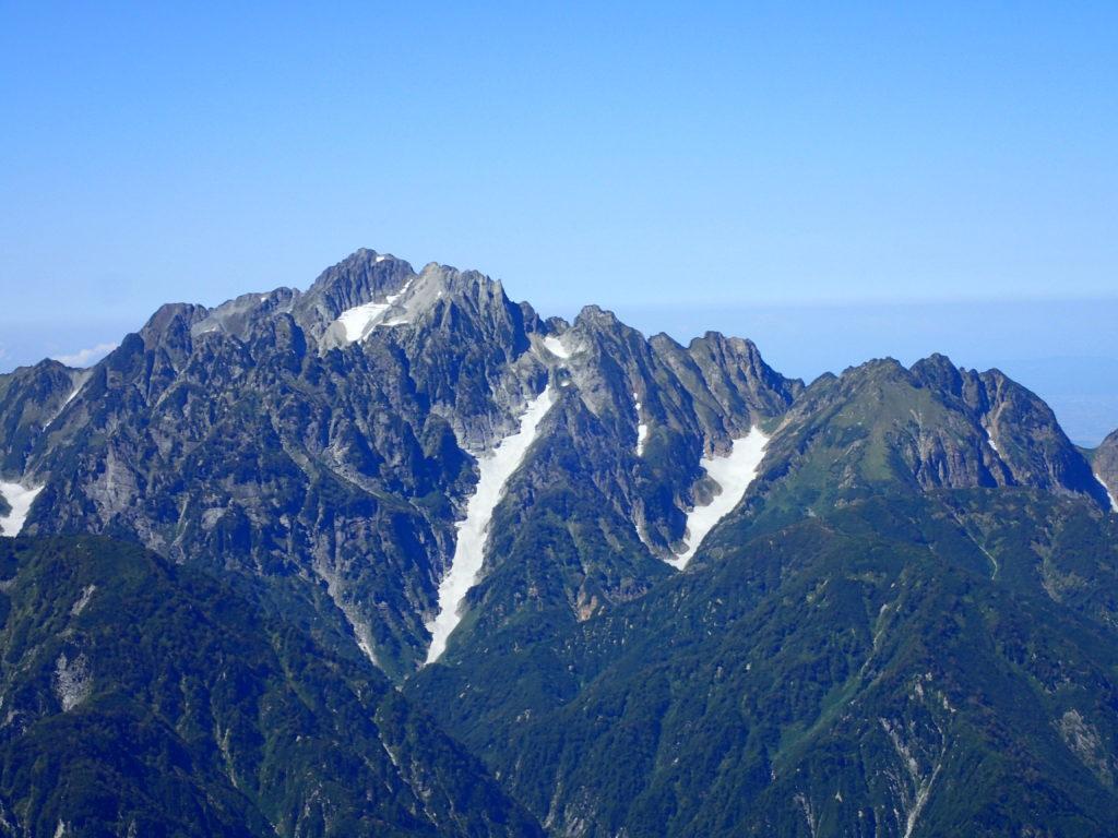 鹿島槍ヶ岳か見る剱岳の小窓雪渓と三ノ窓雪渓