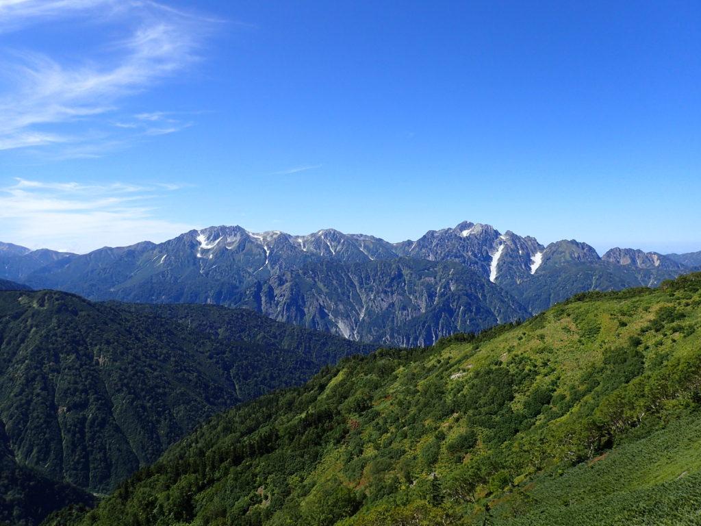 鹿島槍ヶ岳登山道から見る立山と剱岳