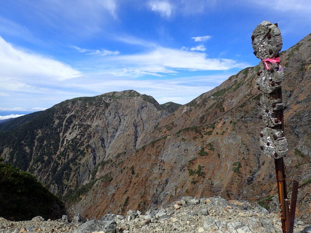 聖岳の便ヶ島ルートの小聖岳から見る兎岳