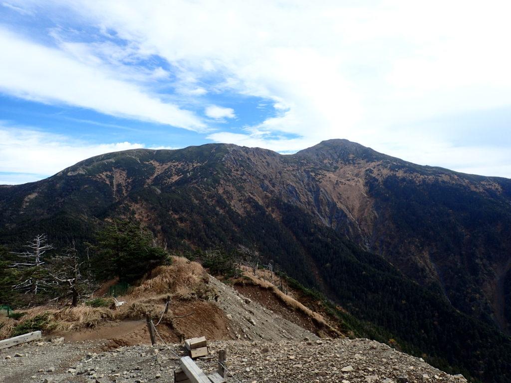 聖岳の便ヶ島ルートの薊畑から見る上河内岳